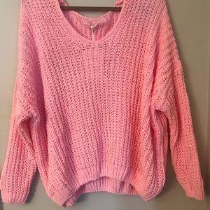 Ultra Soft, Oversized Pink Knit Sweater